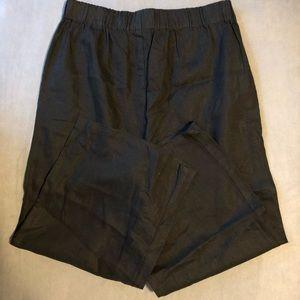 Eileen Fisher Black Linen Flare Crop Pant  (PS)
